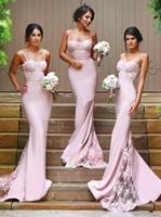 2019 Длинные Русалка пикантные платья подружки невесты вырез сердечком Розовый Спагетти бретели для нижнего белья кружево аппликации для же