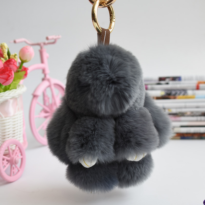mini Rex Rabbit Fur bunny keychain Rabbit Doll Key Chain Pendant White/Pink/Orange Wallet Pom Pom Car Pendant with best gift