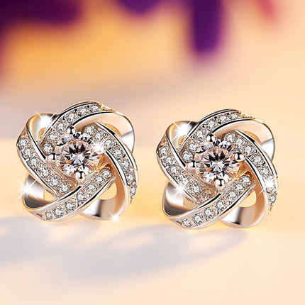 2017 high quality fashion shiny CZ zircon 925 sterling silver ladies stud earrings jewelry wholesale gift anti-allergic