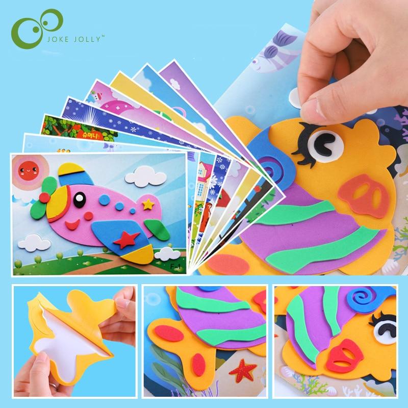 5 Designs/lot 3D EVA Foam Sticker  DIY Cartoon Animal Puzzle For Children Kids Multi-patterns Styles Toys For Children Gift LYQ