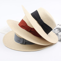 dd09182963 2019 New Summer Beach Hat Lafite Flat Top Straw Hats For Women Bow Sun Hats  For. 2019 Nova Praia Verão Chapéu Lafite Flat top Chapéus De Palha ...