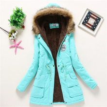 New Female Winter Icebear Women Cotton Wadded Hooded Coats And Jackets Medium-long Casual Parka Thickness Plus Size XXXL