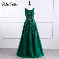 PotN Patio Real Photo Emerald Green Lace Evening Dresses Long 2017 Luxury Appliques Ball Gown Party