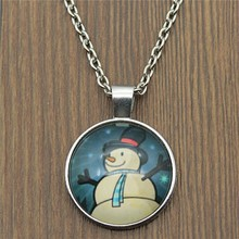 2 Colors Fashion Snowman 25mm Glass Cabochon Necklace For Women Jewelry Gift Dropshipping Supplier