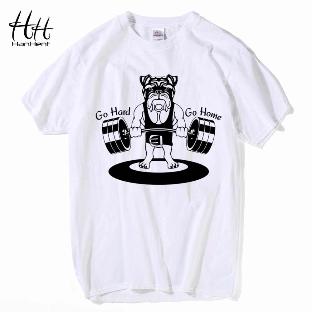 82059fd1d ... HanHent Weightlifting Dog T shirts Mens Funny 2018 Fitness Cotton Tops  Summer Short Sleeve Tee shirts ...