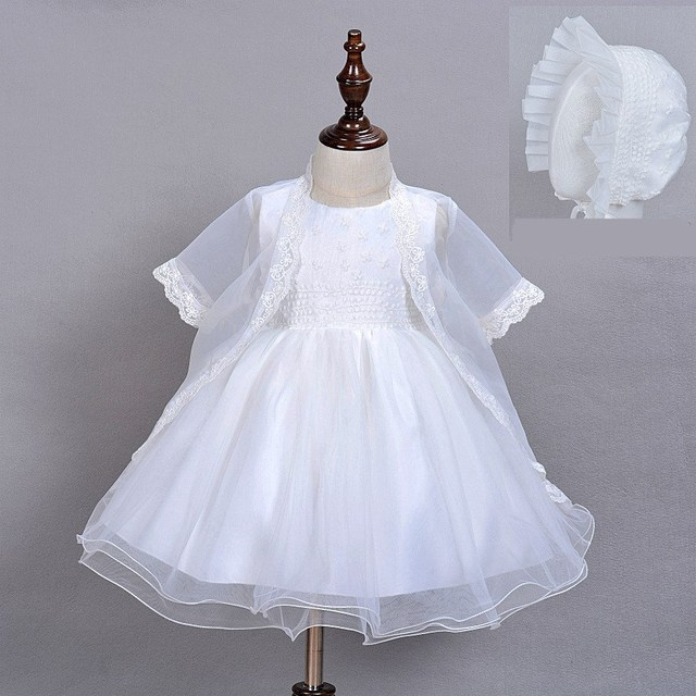 2016 Baby Girl Dress With Hat White 1 Year Old Birthday Party Formal  Vestido Infantil Baptism Clothes Christening Gown f52000bb92c6