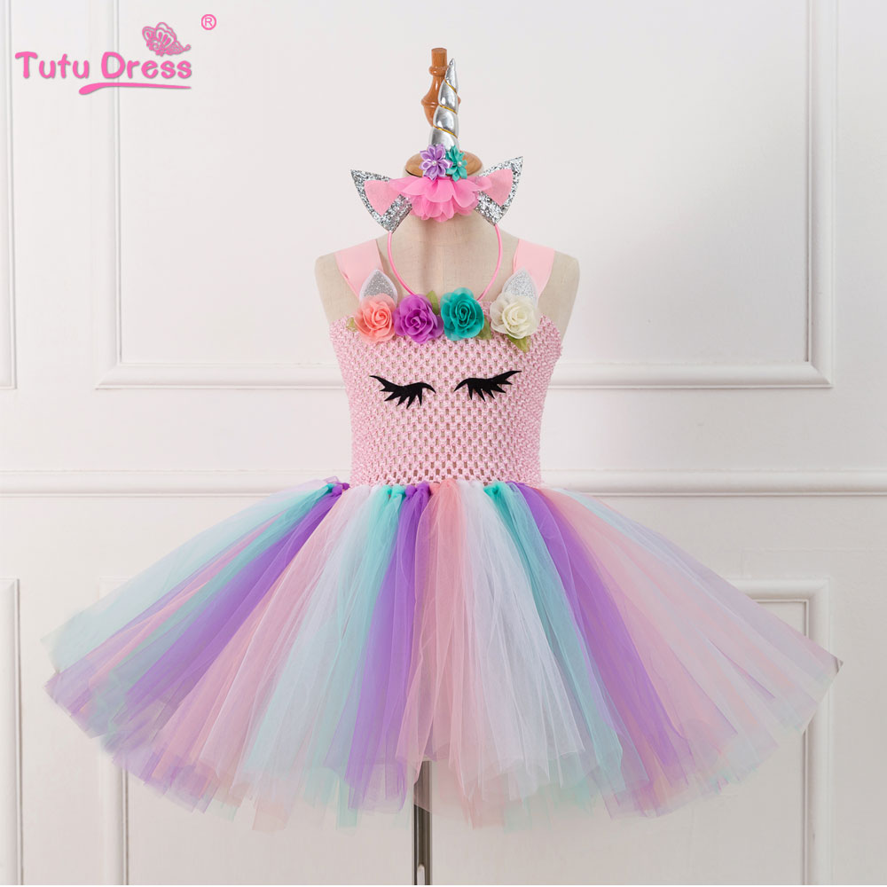 цена Cartoon Colorful Flowers Baby Girls Clothes Birthday Party Dresses Children Tutu Costume Summer Girl Tutu Dress