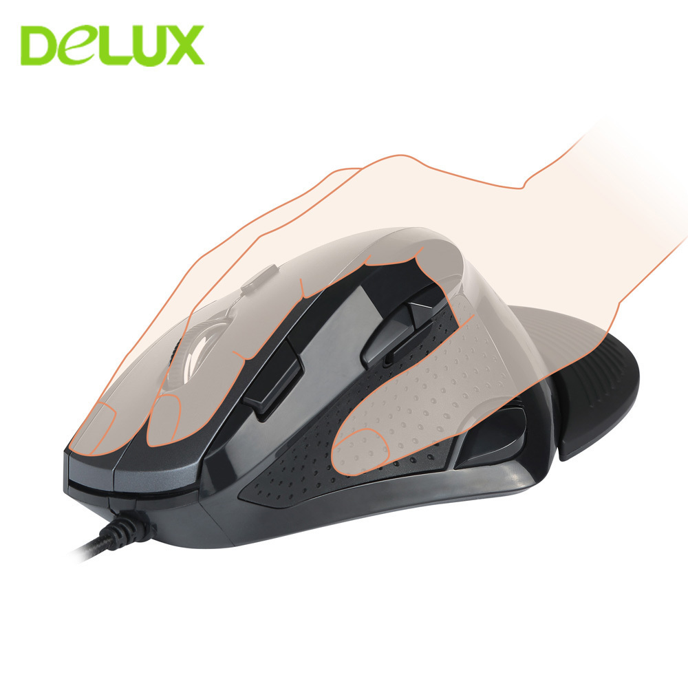 Delux M910 Ergonomic Vertical Mouse Gamer 9 Button 4000DPI Gaming Mause USB Optical Wired Computer Mice For Dota 2 LOL Game цена и фото