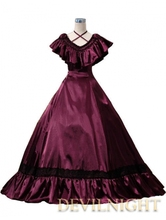 Wine Red Victorian Edwardian Belle Event Gown Victorian Dress Up Game