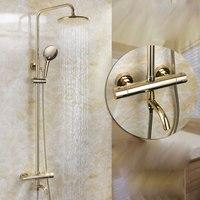 Сантехника и ванная комната оптовая продажа пружинный термостатический клапан основной душевой набор золото все медные душевой кран автом
