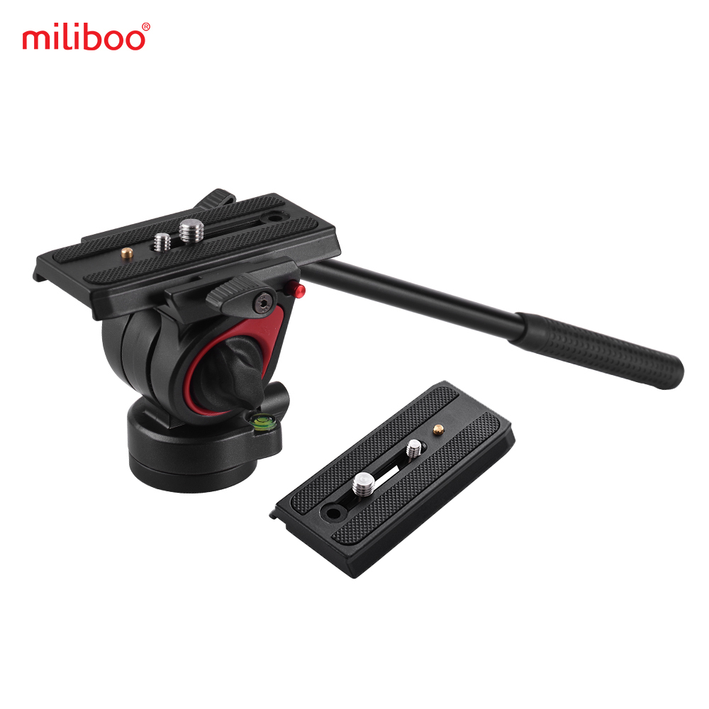 miliboo Video Camera Tripod Action Fluid Drag Head Hydraulic Pan Tilt Head w Quick Release Plate