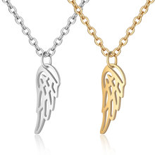 2019 Titanium Stainless Steel Angle Wing Charm Pendant Necklace for Women Men Gold Silver Tone Long Chain Necklace Jewelry цена 2017