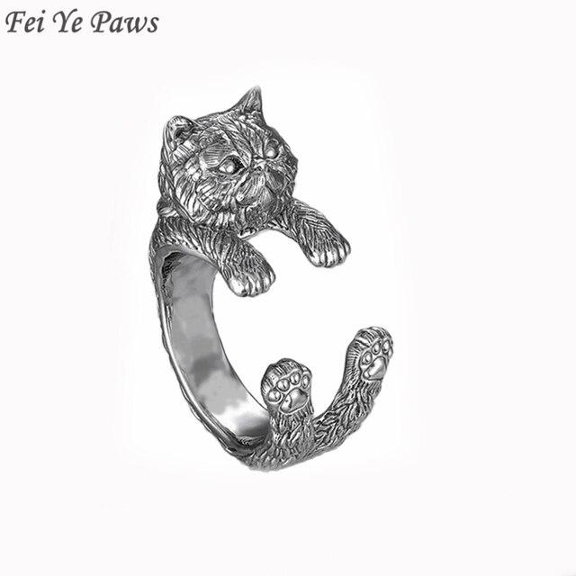 Antike Alte Silber Nette Lustige Persische Katze Ringe Fur Frauen