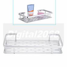 New Fashion Silver Space Aluminum Bathroom Shelf Bath Shampoo Towel Basket Rack Wall Mounted ISP 31*14*5CM Free Shipping