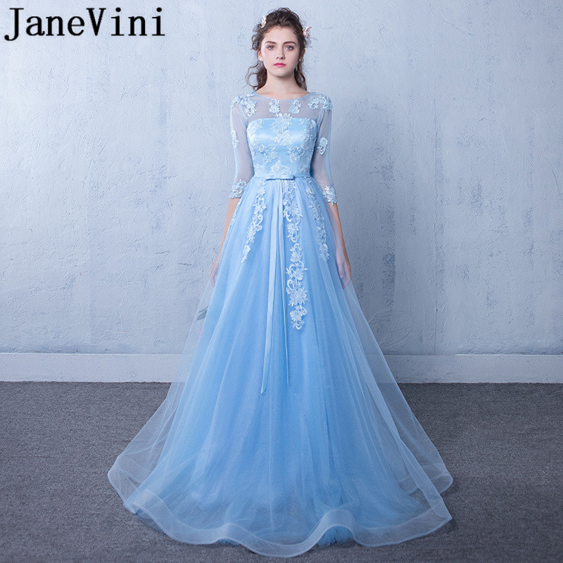 JaneVini Beautiful Half Sleeves Long   Bridesmaid     Dresses   2018 Blue Lace Tulle Formal   Dress   Ladies Wedding Party Gowns Robe Mariee