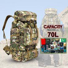Купить с кэшбэком 70L Men Tactical Bag Military Backpack Mountaineering Men Sport Outdoor Travel Bags Molle Backpacks Hunting Camping Rucksack Tas