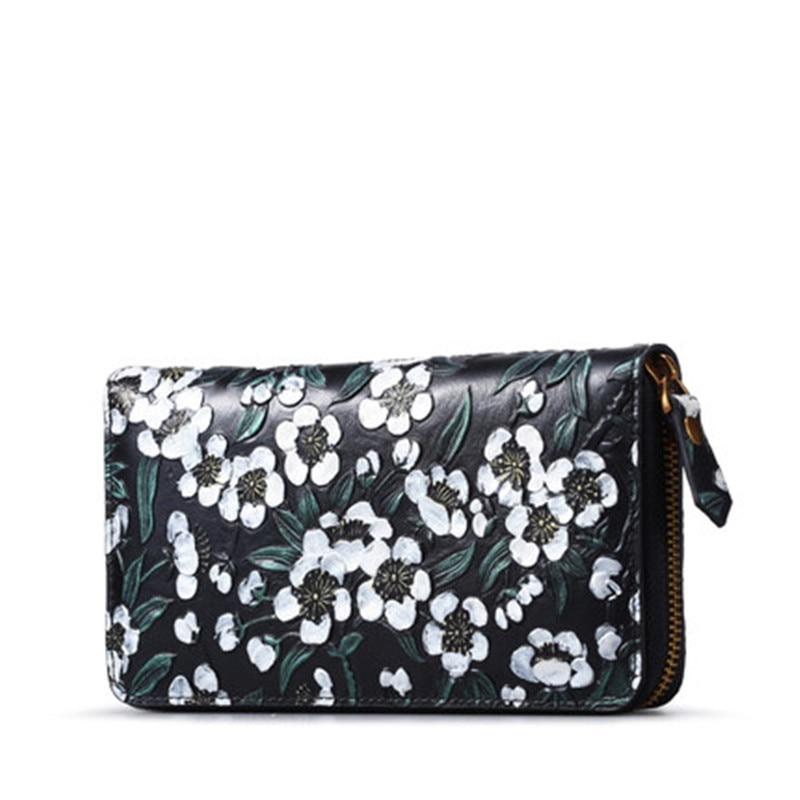 Модная женская сумка из натуральной кожи, кошелек для денег и карт из воловьей кожи с цветочным узором, кошелек клатч, длинные бумажники из с...