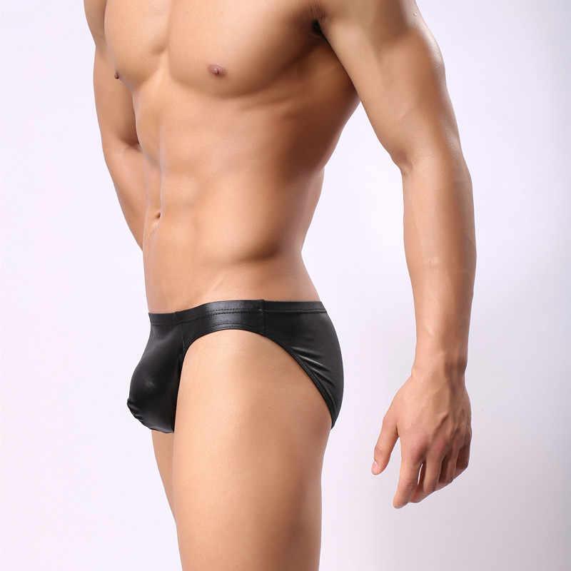 ผู้ชายเซ็กซี่ G String PVC Faux หนังบุรุษ Thongs U นูนกระเป๋านักมวย G - Strings Thongs ชุดชั้นในเกย์สวมใส่ FX8