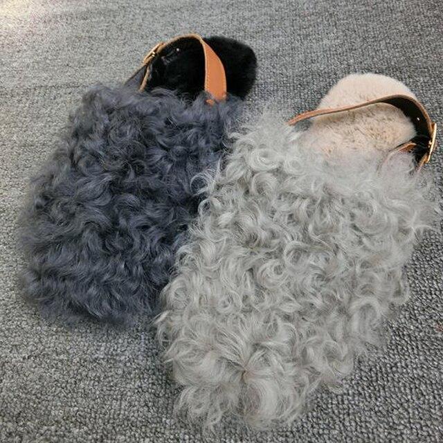 Красивые Золушка W-01 Осень/Зима Шерсть Женщин Сандалии Обувь Теплые Плоские Тапочки Шерсть Ремень Вьетнамки Новая Мода