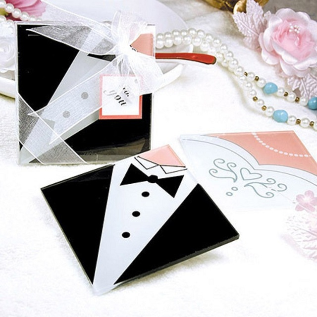 100pcs50sets Bride Groom Dress Glass Placemats Coasters Wedding Favors And Gifts Souvenirs Lover Valentine
