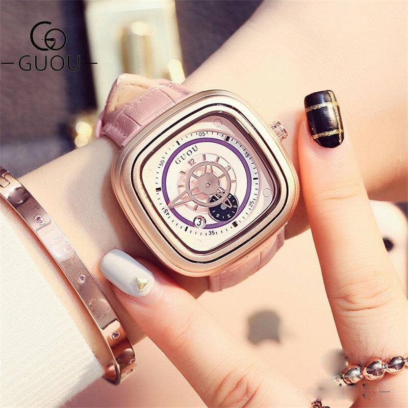 GUOU New Ladies Watch Fashion Leather Belt Waterproof Women's Watches Personality Calendar Square Watch Women orologi donna