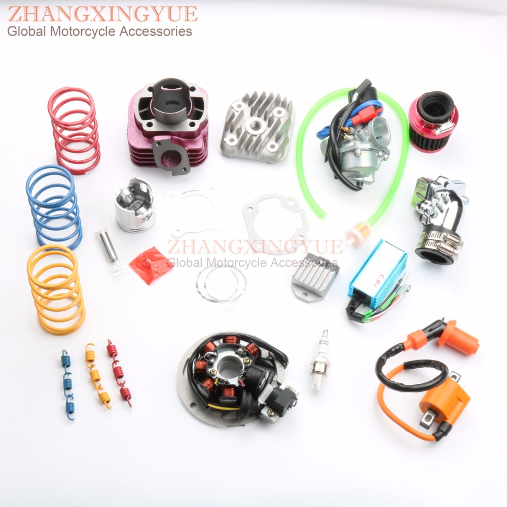 70cc Two Stroke Big Bore Kit with CDI coil carburetor spring air filter for YAMAHA JOG 50cc 1P40QMB 47mm/10mm