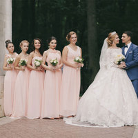 Chiffon Pink Long Bridesmaid Dresses Wedding Party Prom Dresses Junior Bridesmaid Gown Homecoming Dresses