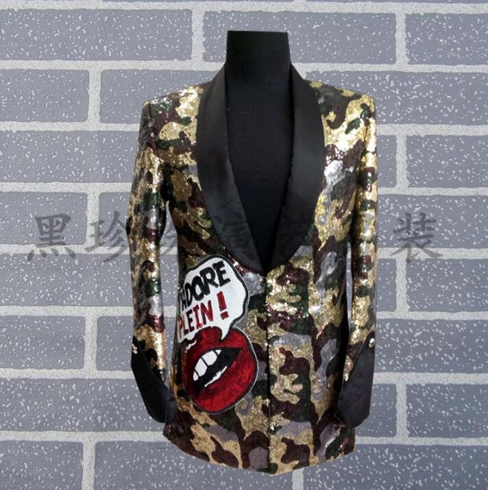 Royal men suits designs masculino camouflage stage costumes for singers men sequin blazer dance clothes jacket style dress rock
