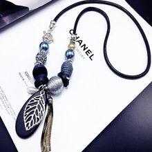 Новое осеннее и зимнее ожерелье в виде листьев, элегантный темперамент, Женские аксессуары, подвески, Длинные ювелирные изделия на цепочке для свитера