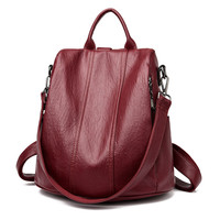 Multifunction Female Backpack Women Leather Backpack For Teenager Girls School Bag Shoulder Travel Back pack Rucksacks Sac A Dos