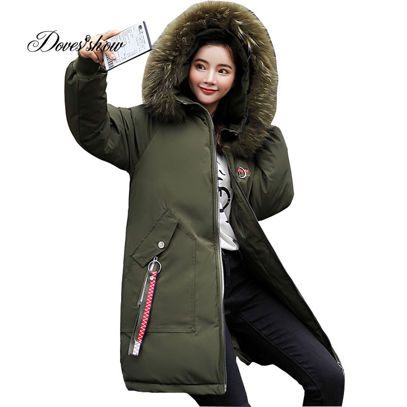Hooded Elastic Fur Collar Appliques Winter Down Coat Jacket Thick Warm Slim Women Casaco Feminino Abrigos Mujer Invierno Outwear