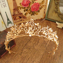 Women Gold Rhinestone Flower Bridal Crown Tiaras Wedding Diadem Hair Accessories
