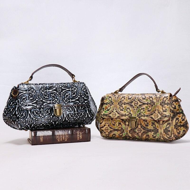 все цены на Women genuine leather flower Embossing handbag lady vantage Jacquard black/yellow cowhide cow leather saddle shoulder bag онлайн
