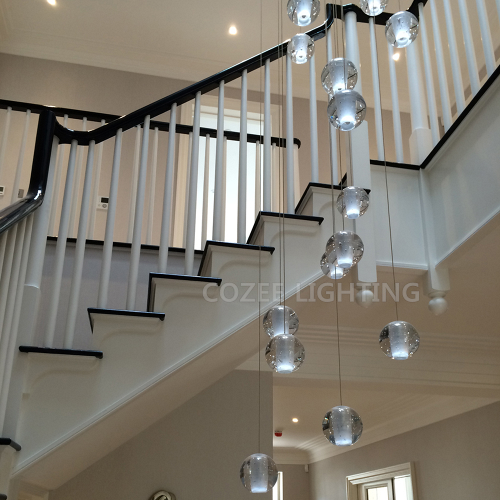 Modern Crystal Chandelier LED Hanging Lighting Large Big Glass Globe Orb Glass Chandeliers Luxury Stair Cristal Chandelier Lamp