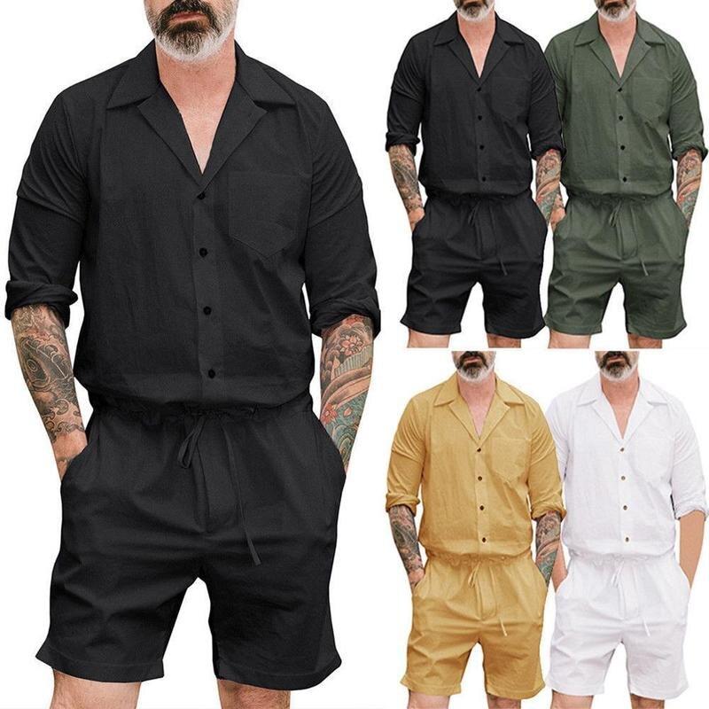 Het Beste Plus Size Lange Mouwen Jumpsuits Mannen Knop Overalls Met Zakken Herfst Overall Broek Werken Casual Speelpakjes Mannelijke Modern En Elegant In Mode