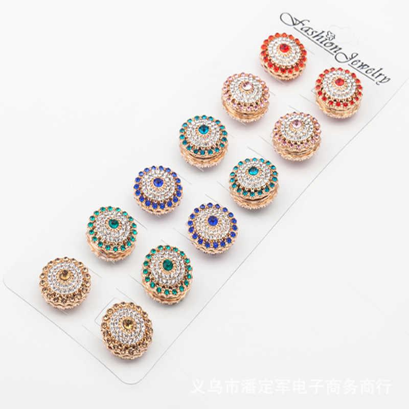 Nuove donne del diamante magnete hijab spille di cristallo musulmano hijab spilla musulmano dello scialle della sciarpa clip perni di capelli accessori 48 pz/lotto