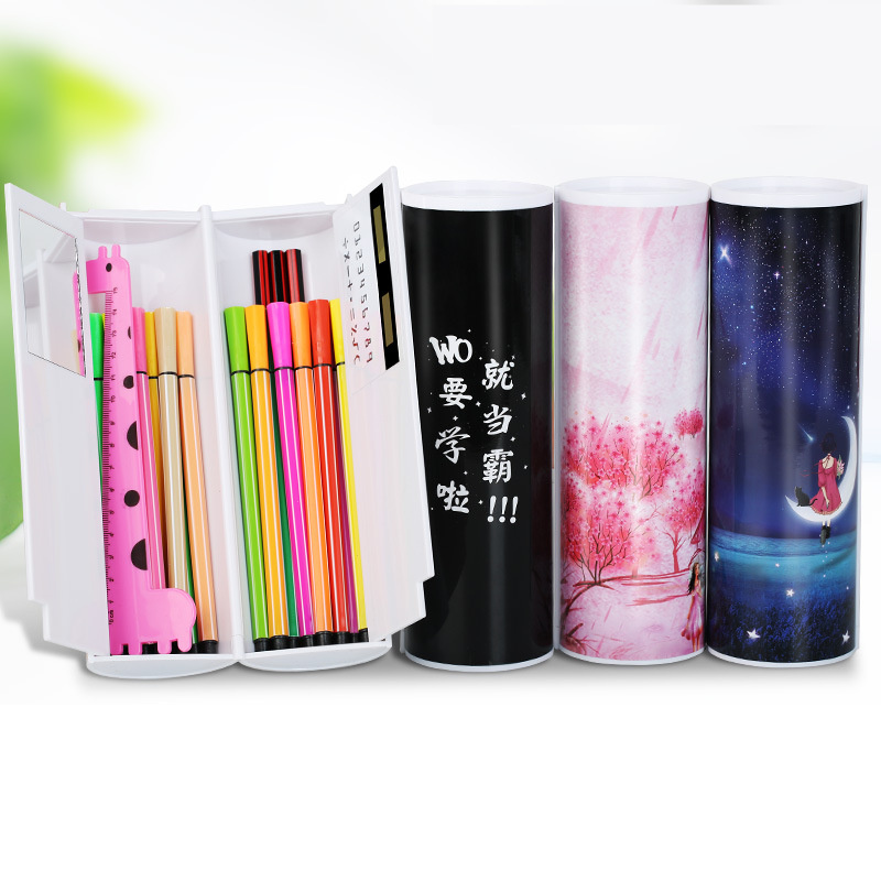 Pencil Case Calculator Solar Erasable With Mirror Multifunction High Capacity Pen Boxes School Student Stationery Gift Boy Girls