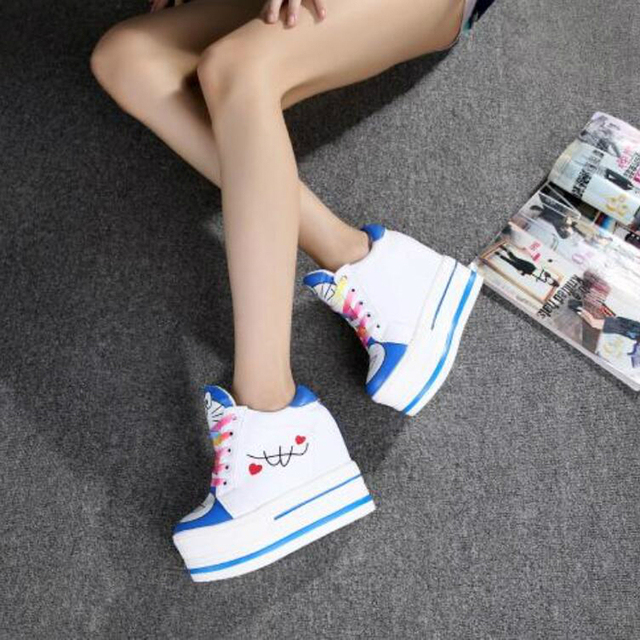 Women Sneakers 2020 Spring Autumn High Heels Ladies Casual Shoes Women Wedges Platform Shoes Female Thick Bottom Trainers  4