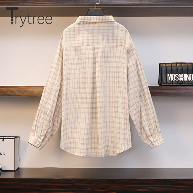Three Piece Casual Linen Plaid Shirt with Tank Top & Wide Leg Shorts 4