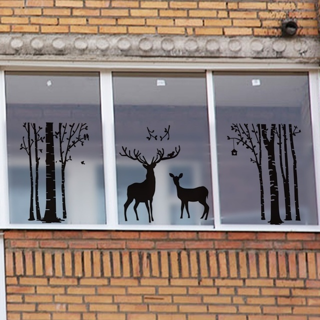 Aliexpress.com : Buy 60cm*58cm Black Deer Tree Glass Film ...