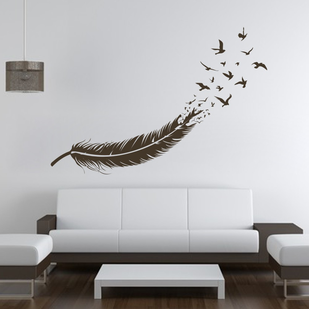 Abstract feather into birds vinyl wall decal custom your for Custom wall mural from photo