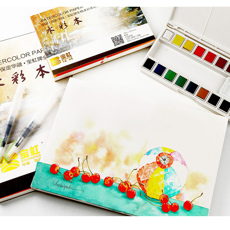 Купить с кэшбэком Bgln 300g/m2 Professional Watercolor Paper 20Sheets Hand Painted Water-soluble Book Creative water color book  art supplies