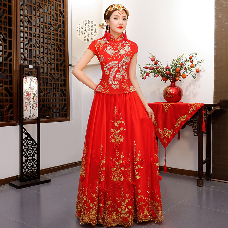 Red Chinese Wedding Bride Cheongsam Traditional Style Marry Evening Dress Embroidery Long Qipao Womens Clothing Size S - XXXL