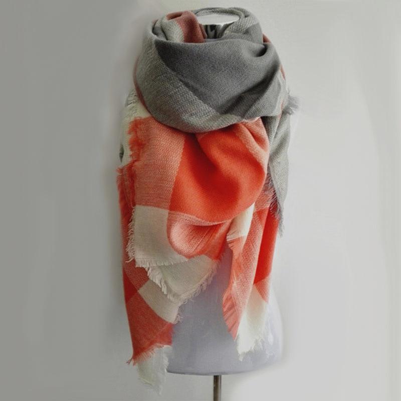 Luxury Brand Kallove halsduk za vinter stor fyrkant Scarf Plaid Women - Kläder tillbehör - Foto 3