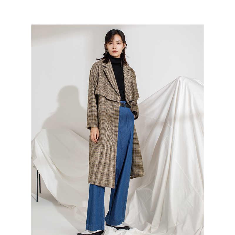 אינמן חורף חדש הגעה נשי דש עם חגורת סריג ארוך סעיף צמר נשים מעיל