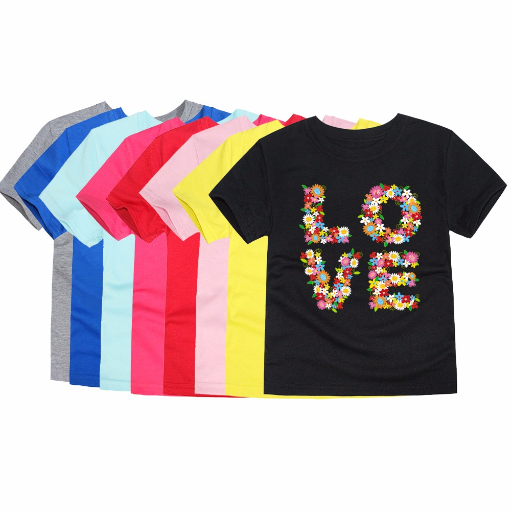 Girls Tees Tops T-Shirts Short-Sleeve Baby Children Summer Clothing Floral Love for 2-14years