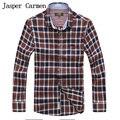 Envío libre afs jeep brand plus size m-xxxx estilo casual hombres de la camisa de manga larga camisa de tela escocesa ocasional 78