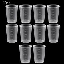 10 шт 50 мл пластиковая лабораторная бутылка лабораторный тест мерная емкость чашки с крышкой Пластиковые мерные стаканчики для жидкости