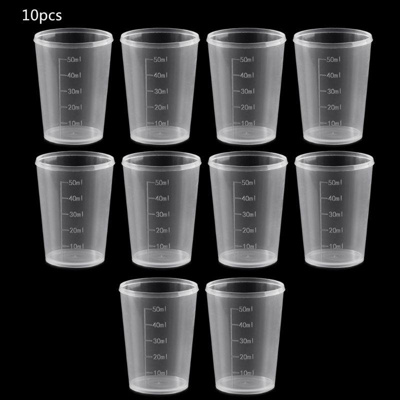 10Pcs 50ml Plastic Laboratory Bottle Lab Test Measuring Container Cups With Cap Plastic Liquid Measuring Cups