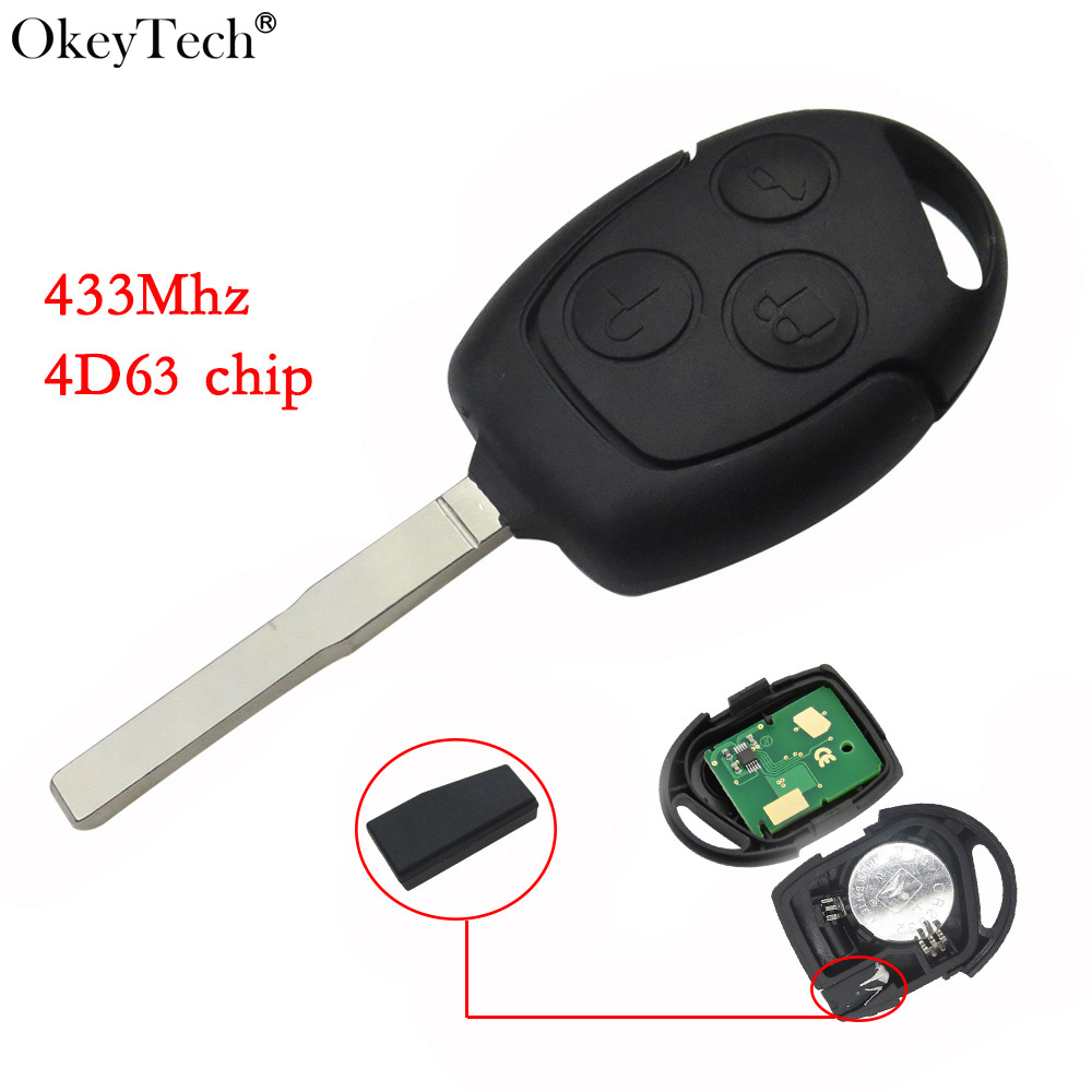 Okeytech 3 Button Remote Car Key 433Mhz For Ford Focus Fiesta Fusion C-Max For Mondeo Galaxy C-Max S-Max With 4D63 Chip(China)
